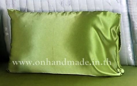 ปลอกหมอนหนุน ผ้าซาตินแท้ 660 เส้น เบอร์ 60 สีเขียวตองอ่อน