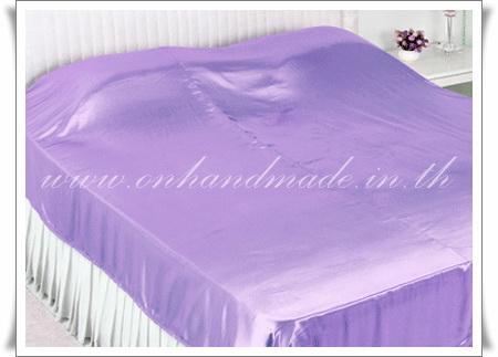 ผ้าคลุมเตียงผ้าซาตินแท้ 440 เส้น ขนาด 6 ฟุต (ขนาด 88 นิ้ว x 98 นิ้ว) สีม่วงพาสเทล
