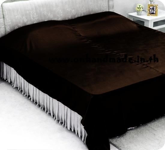 ผ้าคลุมเตียงผ้าซาตินแท้ 440 เส้น ขนาด 6 ฟุต (ขนาด 88 นิ้ว x 98 นิ้ว) สีน้ำตาลช็อคโกแลตเข้ม