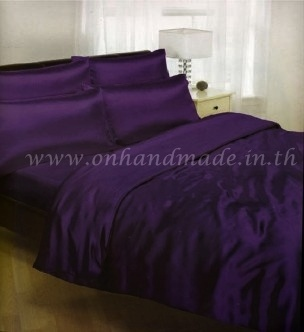 ผ้านวมคู่ ผ้าซาตินแท้ 440 เส้น ขนาด 6 ฟุต (ขนาด 74 นิ้ว x 90 นิ้ว) สีม่วงเข้ม