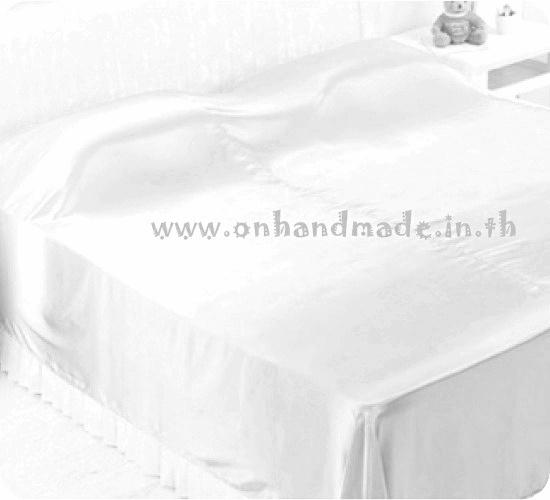 ผ้าคลุมเตียงผ้าซาตินแท้ 440 เส้น ขนาด 6 ฟุต (ขนาด 88 นิ้ว x 98 นิ้ว) สีงาช้าง
