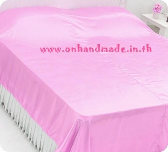 ผ้าคลุมเตียงผ้าซาตินแท้ 440 เส้น ขนาด 6 ฟุต (ขนาด 88 นิ้ว x 98 นิ้ว) สีชมพูหวาน