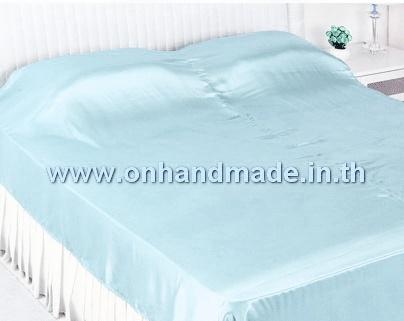 ผ้าคลุมเตียงผ้าซาตินแท้ 440 เส้น ขนาด 6 ฟุต (ขนาด 88 นิ้ว x 98 นิ้ว) สีเขียวพาสเทล