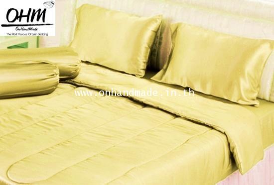 ผ้าปูที่นอนผ้าซาตินแท้ 440 เส้น ขนาด 3.5 ฟุต สีเหลือง