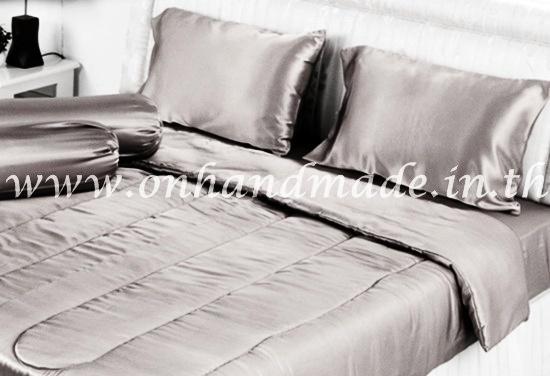 ผ้าปูที่นอน ความสูงฟูก 10 นิ้ว ผ้าซาตินแท้ 440 เส้น ขนาด 3.5 ฟุต สีเทาน้ำตาลอ่อน