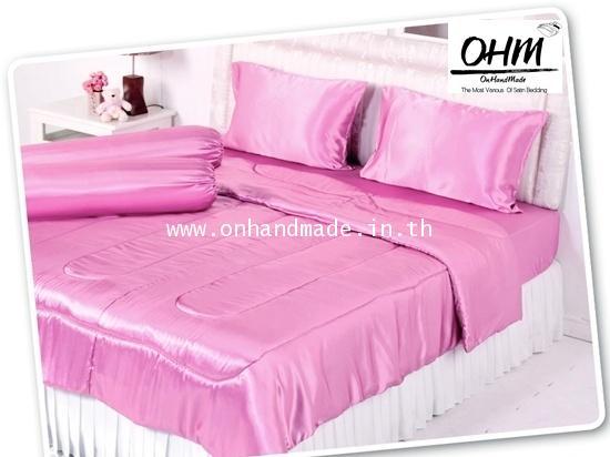ผ้าปูที่นอน ความสูงฟูก 10 นิ้ว ผ้าซาตินแท้ 440 เส้น ขนาด 3.5 ฟุต สีชมพูหวาน