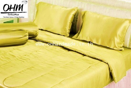 ผ้าปูที่นอนผ้าซาตินแท้ 440 เส้น ขนาด 3.5 ฟุต สีเหลืองเข้ม