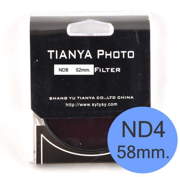 TIANYA Neutral Density ND 4 ND4 Filter 58mm.