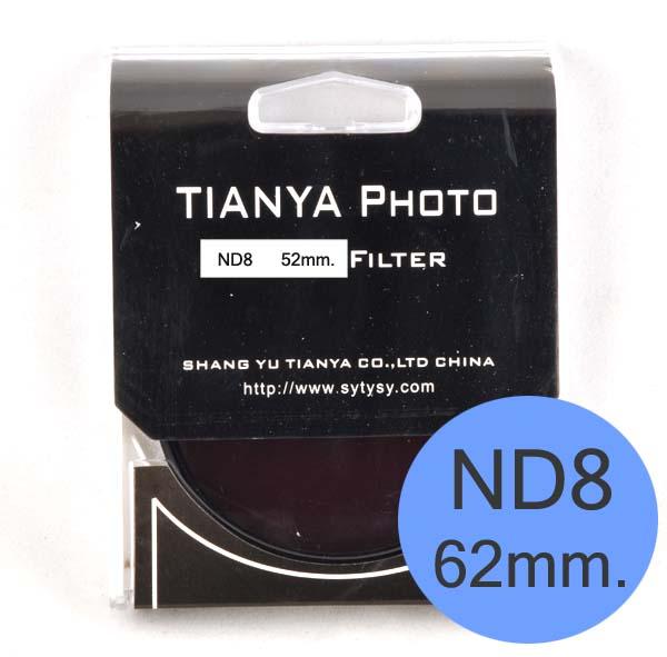 TIANYA Neutral Density ND 8 ND8 Filter 62mm.