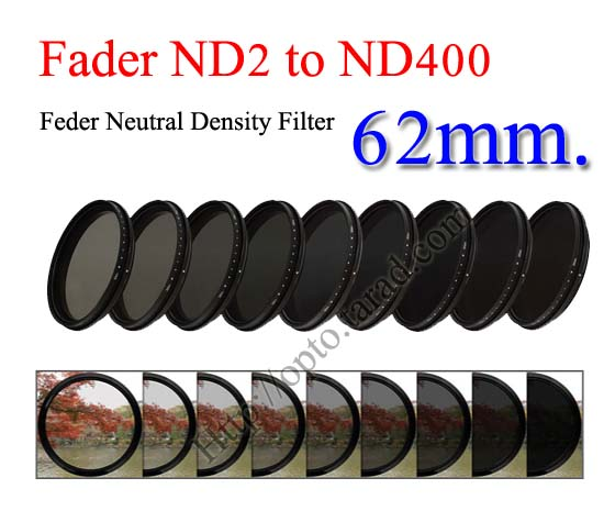 Fader Neutral Density ND2 to ND400 Filter 62mm.