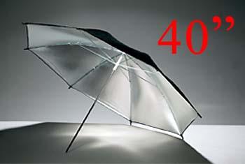 Silver inside black outside Reflector Umbrella 101cm (40Inch) ร่มสะท้อนสีเงิน