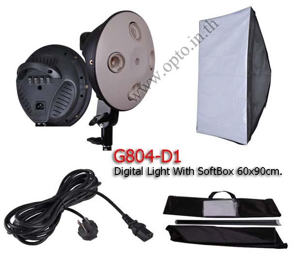 G804D With Softbox 60x90cm Digital Day light Lamp E27 Bulb x4 Holder
