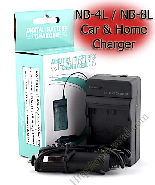 Home + CarBattery Charger For Canon NB-4L / NB-8L