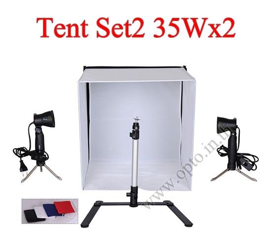 Photo Light Tent Kit Set2 35Wx2 Halogen Light + Camera Stand