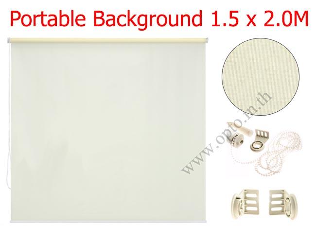 ฉากผ้าแบบติดผนังสีขาว 150x200cm. มาพร้อมขายึด+โซ่ม้วนผ้า(สามารถใช้งานได้ทันที)