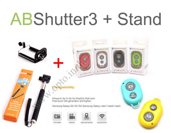 Bluetooth Remote Shutter + Stand for iPhone4 iPhone5 iPhone5s Android รีโมทบลูทูธสำหรับมือถือ+