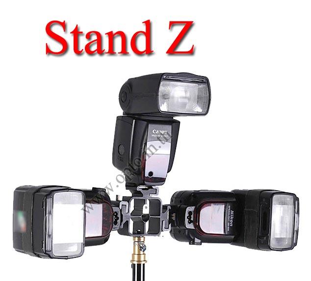 Stand Z DSLR Flash Shoe Umbrella Holder 3x Triple Flash