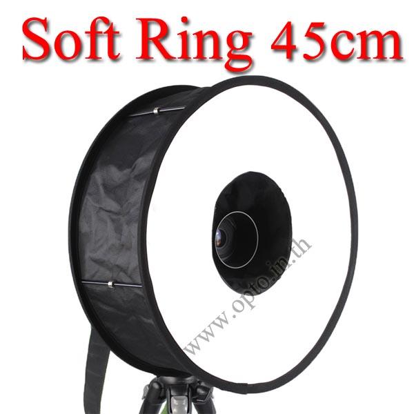 Ring Softbox 45cm Diffuser Portable softbox for Speedlite(Universal type) ตัวกระจายแสงแฟลชแบบกลม