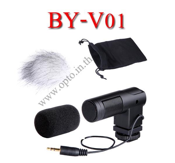 BY-V01 Boya stereo X and Y Microphone For DSLR Camera DV Camcorder ไมค์หัวกล้องสำหรับกล้องDSLR