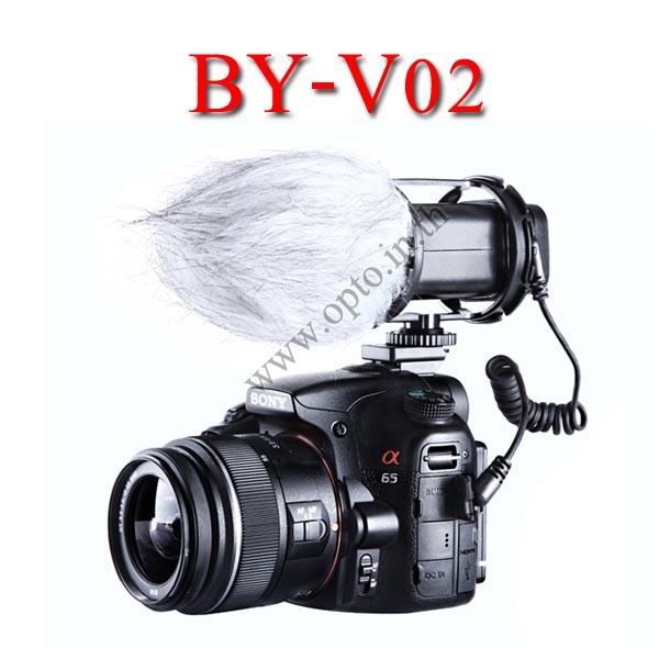 BY-V02 Boya stereo Microphone For DSLR Camera DV Camcorder ไมค์หัวกล้องสำหรับกล้องDSLR