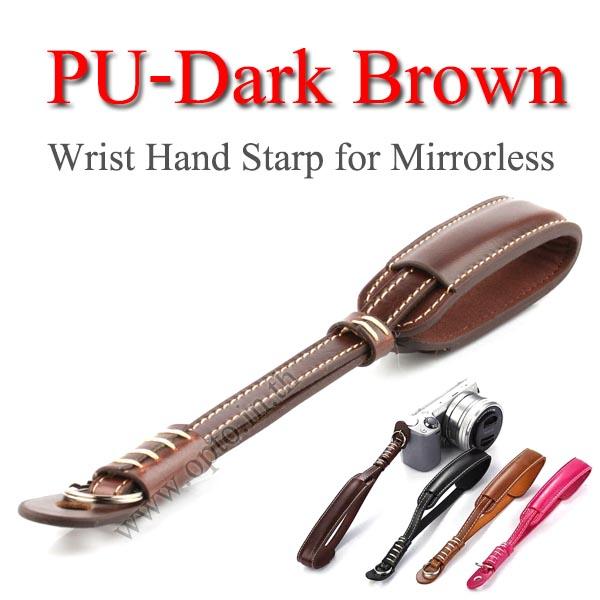 PU-Dark Brown Camera Wrist Hand Strap for Mirrorless สายคล้องข้อมือกล้องสายหนัง(สีน้ำตาลเข้ม)