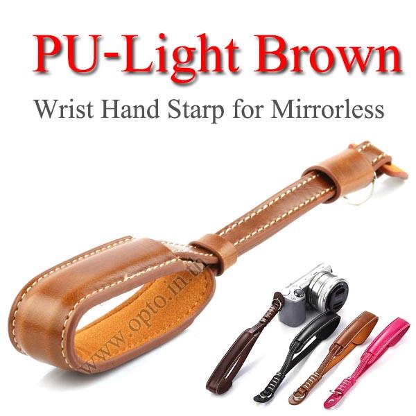 PU-Light Brown Camera Wrist Hand Strap for Mirrorless สายคล้องข้อมือกล้องสายหนัง(สีน้ำตาลอ่อน)