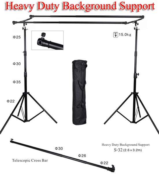 S-32 Dual Background Stand Set Heavy Duty Backdrop โครงฉากถ่ายภาพแบบ2แกน