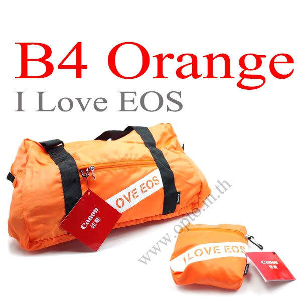 B4 Orange I Love EOS Bag Gift for Canon camera กระเป๋าใส่ของแคนนอนเป็นถุงผ้าจุของได้เยอะ