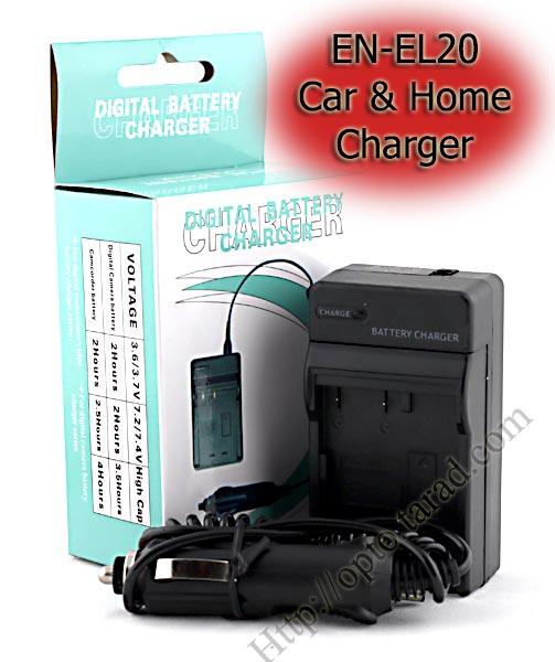 Home + CarBattery Charger For Nikon EN-EL20