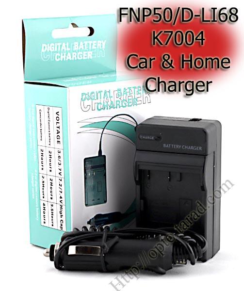 Home + Car Battery Charger For FUJIFILM FNP50/D-LI68/K7004