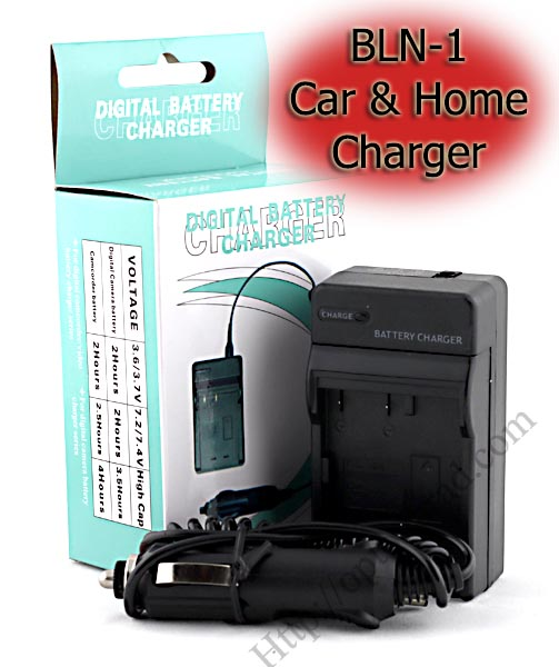 Home + Car Battery Charger For Olympus BLN-1