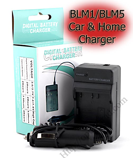 Home + Car Battery Charger For Olympus BLM1/BLM5