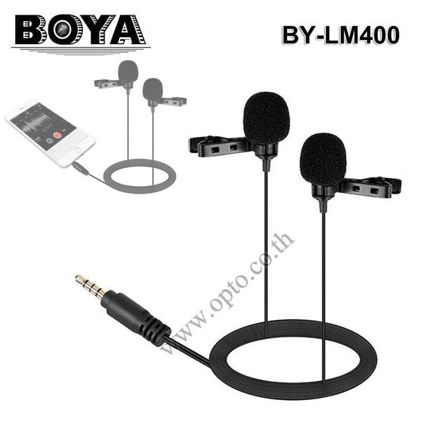 BY-LM400 Boya lavalier Microphone For Mobile Smart Phone ไมค์หนีบปกเสื้อ2หัวสำหรับมือถือ