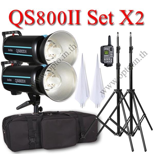 QS800II Setx2 800W Pro Flash Godox StudioSet + Wireless Trger 2.4Ghz ชุดแฟลชสตูดิโอปรับกำลังไร้สาย
