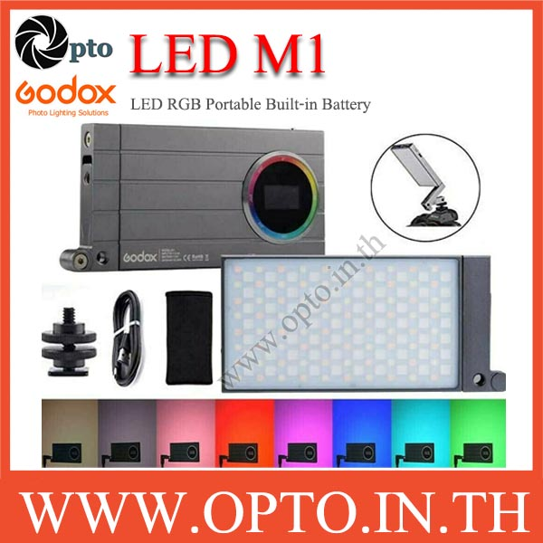 Godox M1 RGB LED Mini Portable Round LED Mini Creative Light ไฟต่อเนื่องแบบพกพา