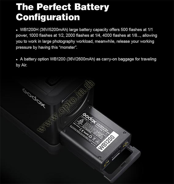 AD1200Pro Godox HSS Sync Wireless Flash Portable+Battery TTL AD1200 แฟลชพกพามีแบตเตอรี่ 3