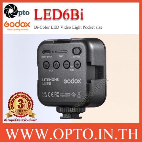 LED6Bi Godox Litemons Bi-Color Pocket-Size+Battery LED Video Light 2800 to 6500K ไฟต่อเนื่อง2สี
