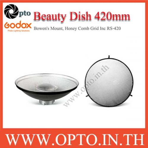 Beauty Dish Reflector 420mm. (Honey Comb Grid Inc) RS-420 Mount Bowens