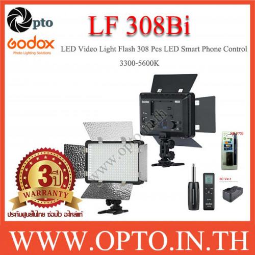 LF308Bi Godox 3300-5600K LED +Flash Light +NP-F770+BC-V615 ไฟต่อเนื่อง+แบตเตอรี่