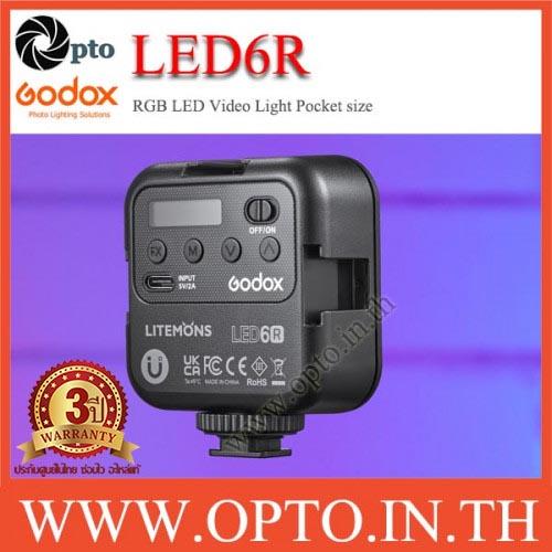 LED6R Godox Litemons RGB Color Pocket-Size+Battery LED Video Light RGB and 3200 to 6500K ไฟต่อเนื่อง