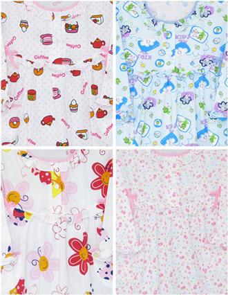 ชุดนอนเด็กหญิง ไซส์ 3-4 (กระโปรงแขนยาว) ผ้ายืด เซทนี้มี 4 ชุด ค่ะ