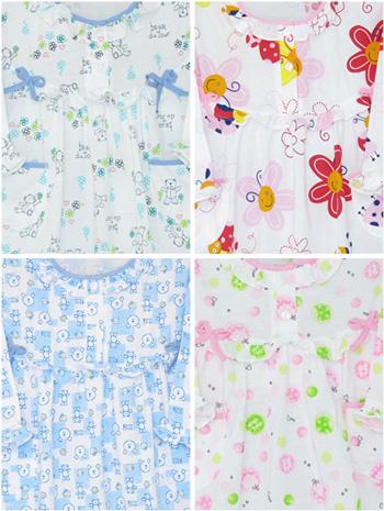 ชุดนอนเด็กหญิง ไซส์1-2 ( กระโปรงแขนยาว) ผ้ายืด  เซทนี้มี 4 ชุด ค่ะ
