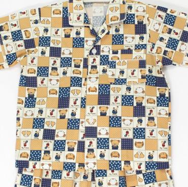 ไซส์ 2-3 แขนสั้น ขายาว (คอปก) ผ้าคัตตอน ลายหมี my friends สีน้ำเงินน้ำตาลครีม