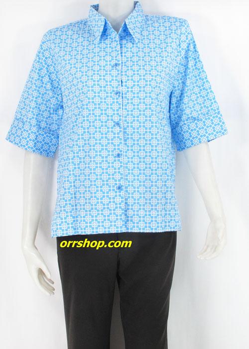 เสื้อผ้าคัตตอน ใส่ทำงาน ไซส์ 1 (ไม่มีกระเป๋า) ลายดอกไม้สี่เหลี่มสีขาวพื้นสีฟ้า