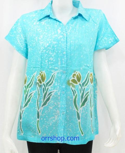 เสื้อผ้าแมมเบิดส์ เสื้อผ้าบาติก ( เสื้อตัวเดียว) แบบ คอปก มีแขน