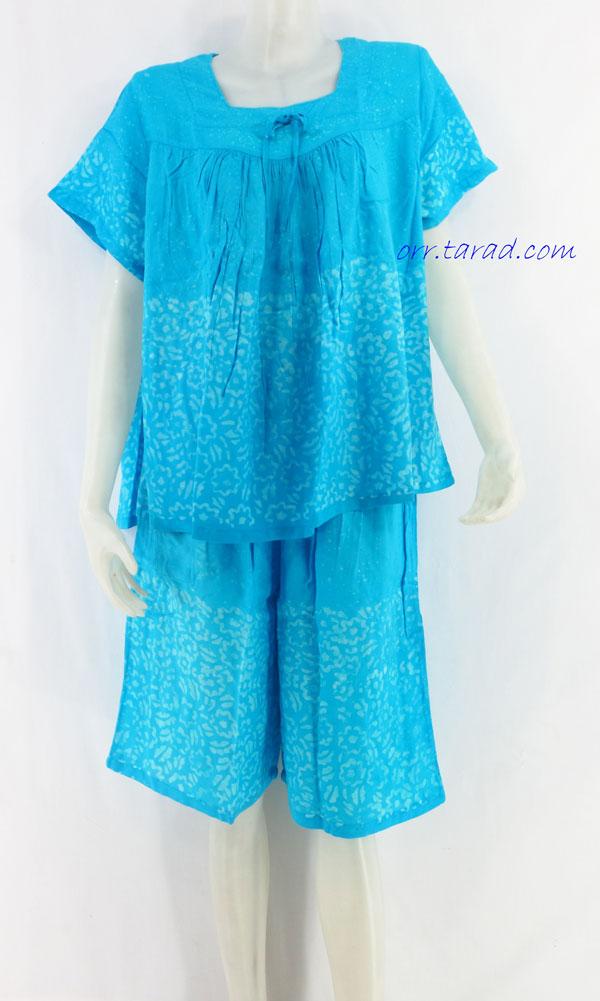 ชุดนอนผ้าบาติก ( เสื้อคู่กางเกง แขนสั้น ) แบบผูกโบว์ ต่ออก คลิกดูรายละเอียดเพิ่มเติม