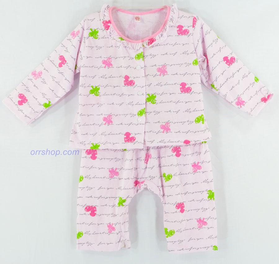 ชุดนอนเด็ก ไซส์เด็กจิ๋ว (3 M) แขนยาว ขายาว ผ้ายืด (กลุ่มคอระบาย กระดุมผ่าหน้า) คลิกดูลายเพิ่มเติม