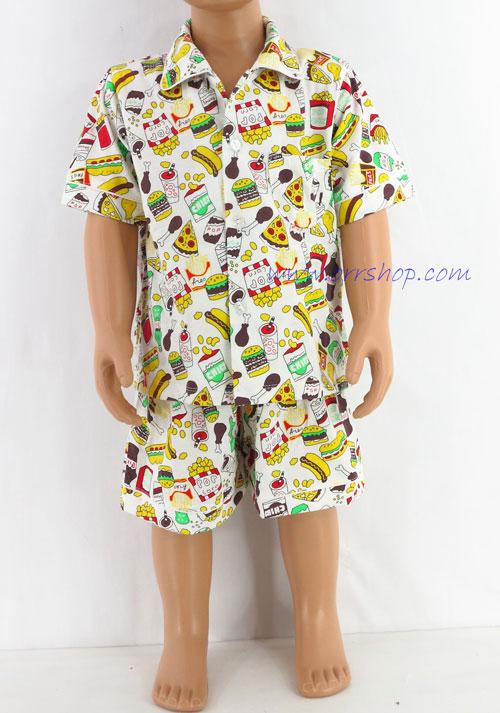 ชุดนอนเด็กชาย ไซส์ 1-2 แขนสั้น ขาสั้น ผ้ายืด (แบบคอปก กระดุมผ่าหน้า) คลิกดูรายละเอียดเพิ่มเติม
