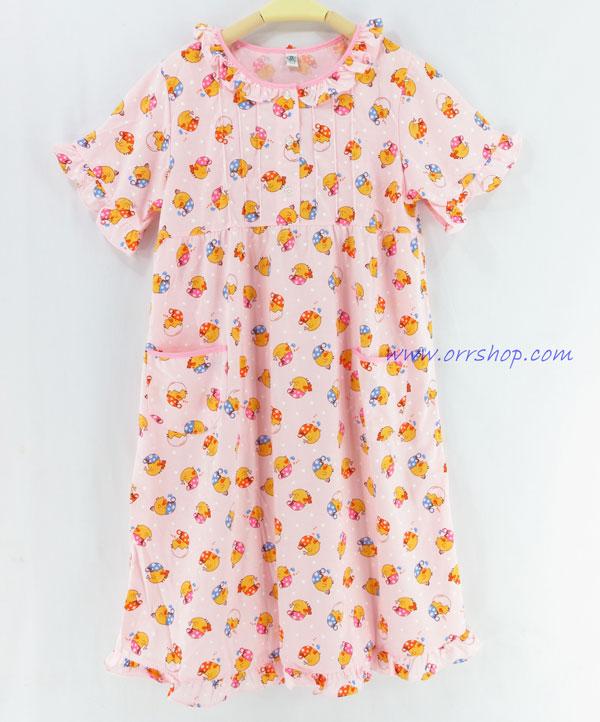 ชุดนอนเด็กหญิง ไซส์ 10-12 ผ้ายืด ชุดกระโปรงแขนสั้น (คอระบาย กระดุม 3 เม็ด) คลิกดูรายเอียดเพิ่มเติม