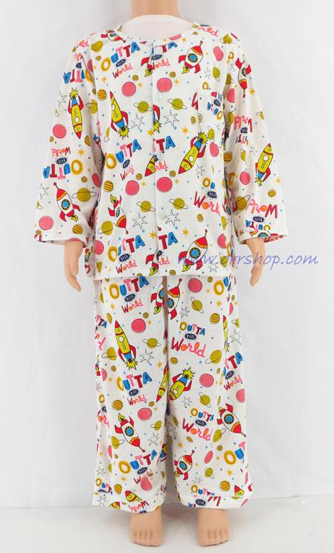 ชุดนอนเด็กชาย ไซส์ 3-4 แขนยาว ขายาว ผ้ายืด (แบบคอกลม กระุมผ่าหน้า)  คลิกดูรายละเอียดเพิ่มเติม